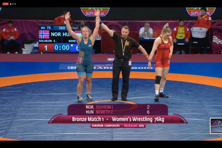 Németh Zsanett megszerezte a magyarok második bronzérmét a birkózó Eb-n