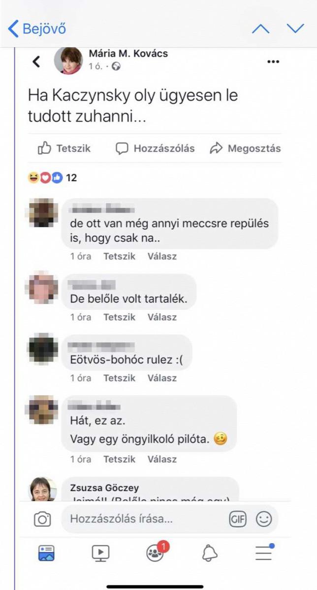 Kovács M. Mária Facebook-bejegyzése, alatt Göczey Zsuzsa hozzászólásával