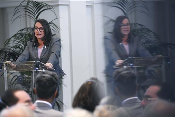 Novák Katalin, az Emberi Erőforrások minisztériumának család- és ifjúságügyért felelős államtitkára előadást tart a Századvég Alapítvány Európa választ! A Project28 kutatás eredményei 2019-ben című konferencián