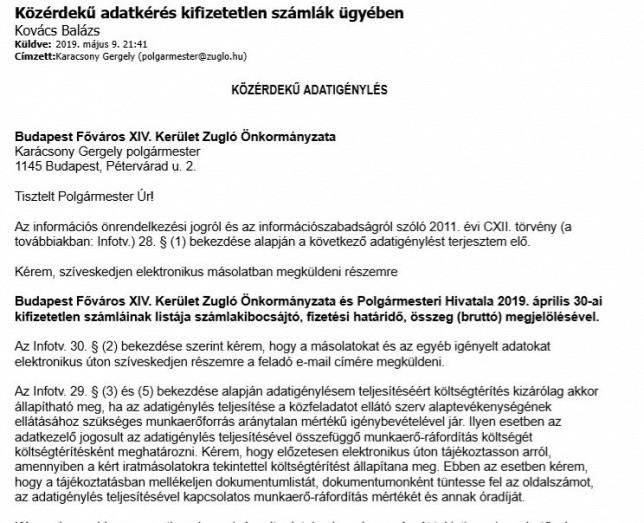 Közérdekű adatigénylés Kovács Vélától