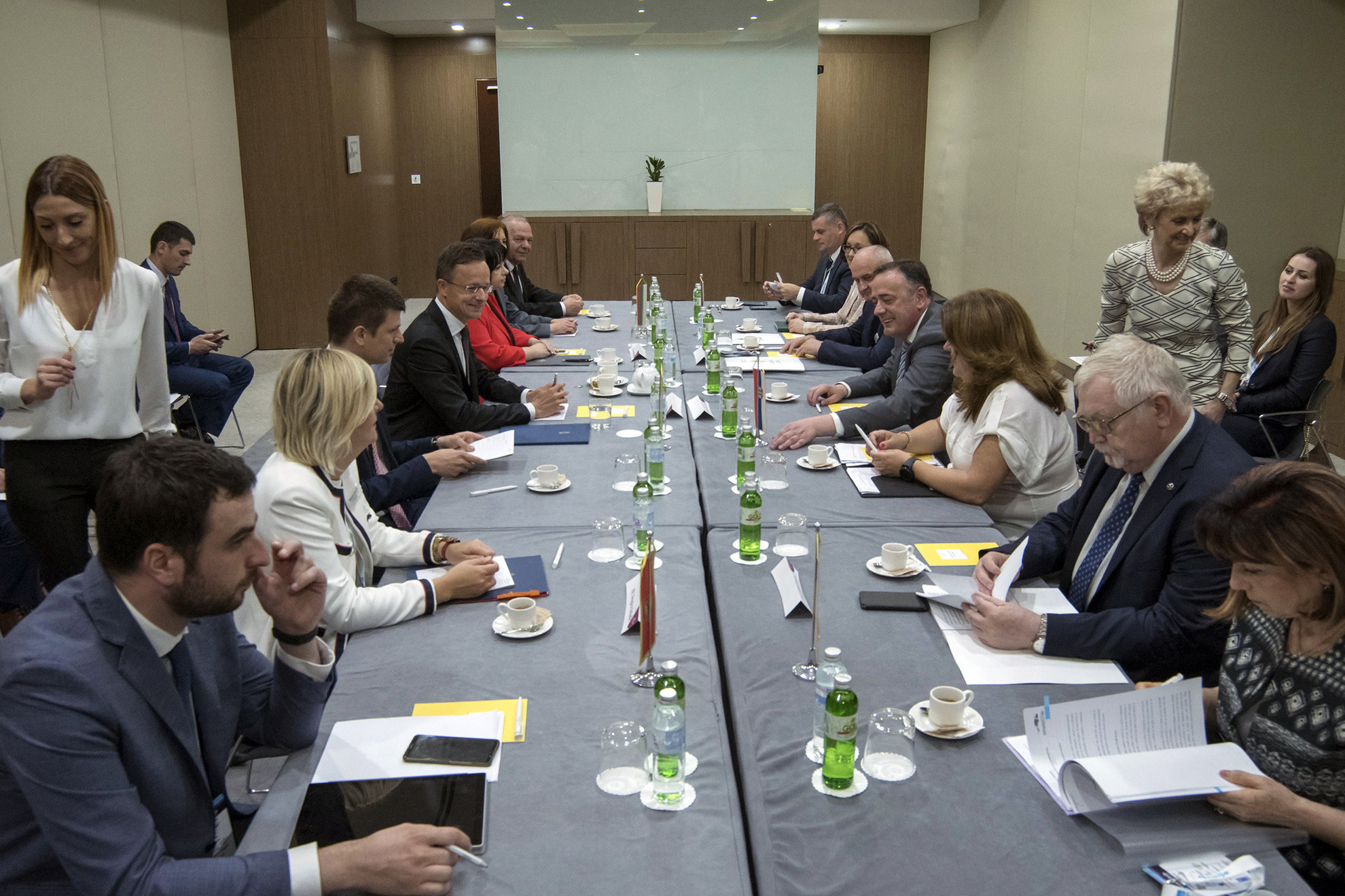 vDragica Sekulic montenegrói gazdasági miniszter (b2), Szijjártó Péter külgazdasági és külügyminiszter (b4), Temenuzska Petrova bolgár energetikai miniszter (b5), Anton Anton román energetikai miniszter (j2), Aleksandar Antic szerb bányászati és energetikai miniszter (j4) és Petar Dokic, Bosznia-Hercegovina energetikai minisztere egyeztetést tart a belgrádi regionális energiabiztonsági konferencia előtt