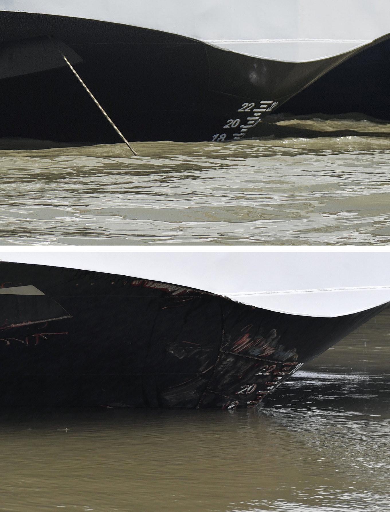 A kombóképen felül a balesetben részes, Magyarországra visszatérő Viking Sigyn szállodahajó a visegrádi hajóállomáson 2019. június 10-én, alatta a Duna Margit híd és Árpád híd közötti szakaszán 2019. május 30-án hajnalban