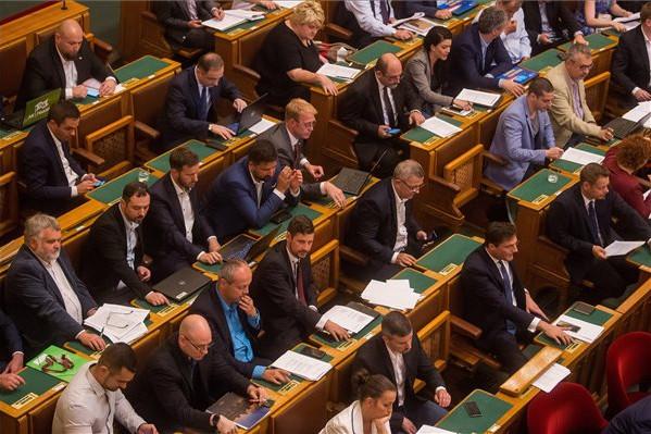 Ellenzéki képviselők szavaznak a plenáris ülésen