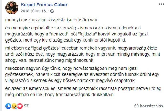Agyhalottnak nevezte Magyarországot Kerpel-Fronius Gábor