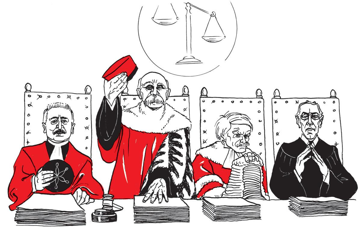 """A """"bírák"""": Orlando olasz, Clemenceau francia, Lloyd George brit miniszterelnök és Wilson amerikai elnök"""