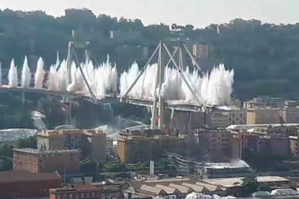 Felrobbantották a genovai Morandi-híd roncsait