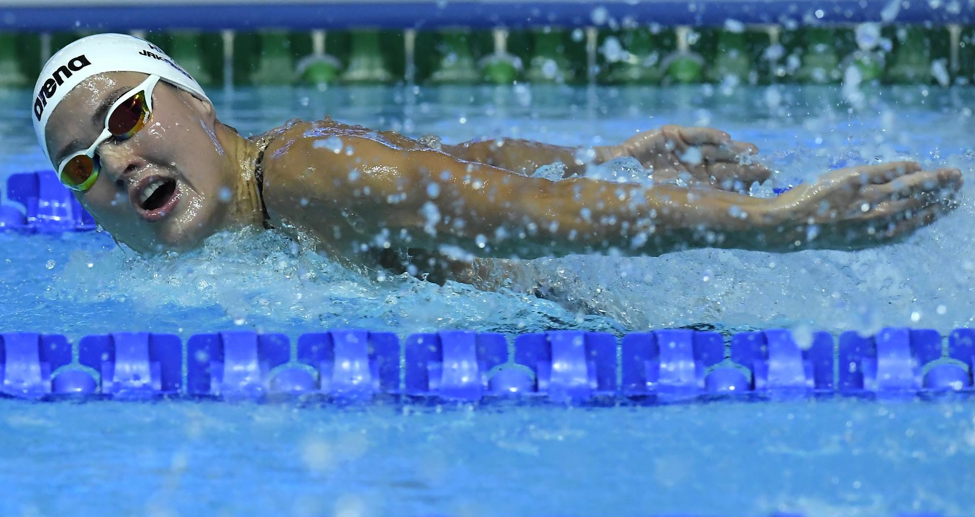 Jakabos Zsuzsanna a női 400 méteres vegyesúszás döntőjében a 18. vizes világbajnokságon a dél-koreai Kvangdzsuban