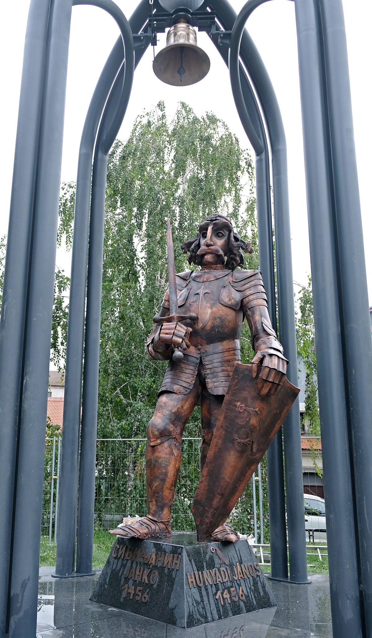 Hunyadi János szobra a zimonyi Duna-parton