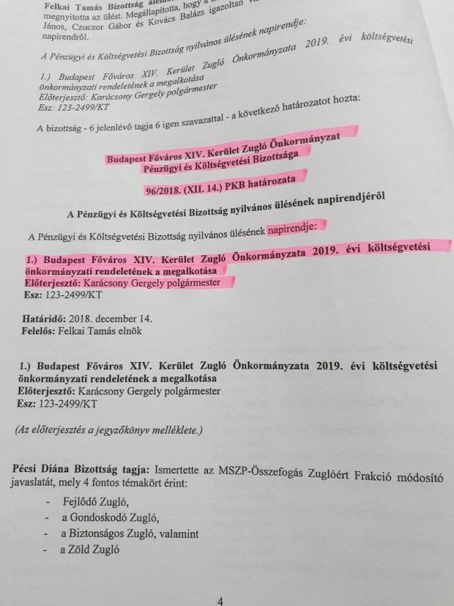 A pénzügyi bizottság decemberi ülésének jegyzőkönyve