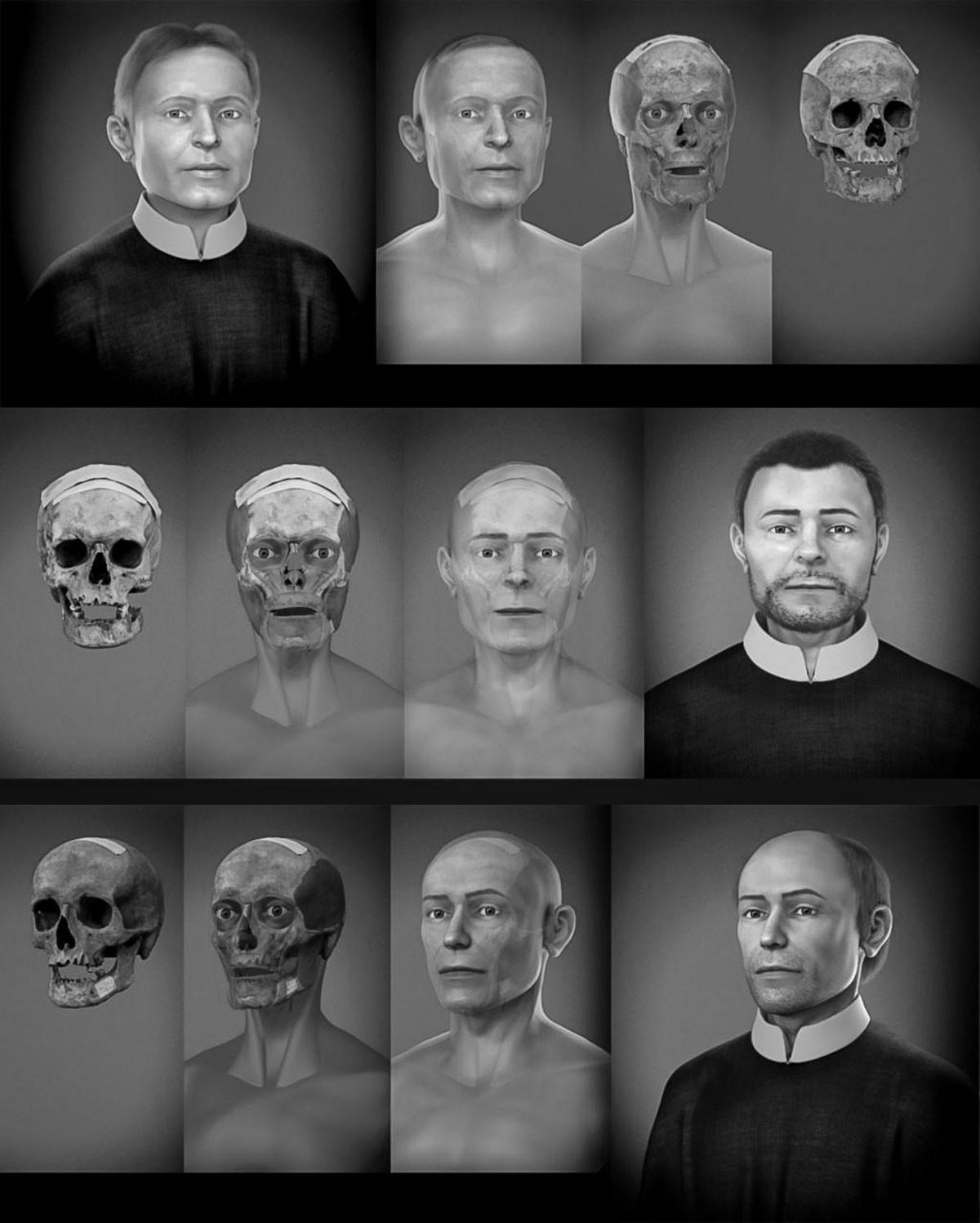 Grodecz Menyhért (felül), Kőrösi Márk (középen), Pongrácz István (alul) ez évben rekonstruált arcképei. A Cicero Moraes brazil specialista vezette szakcsoport, együttműködve a Cseh Köztársaság, a Szlovák Tudományos Akadémia, a Comenius Egyetem, a szlovákiai Jézus Társaság és az Esztergom–Budapesti Főegyházmegye szakembereivel a legújabb tudományos módszer eredményeként – a kassai vértanúk koponyaereklyéi segítségével – alkotta meg a szentek képmását