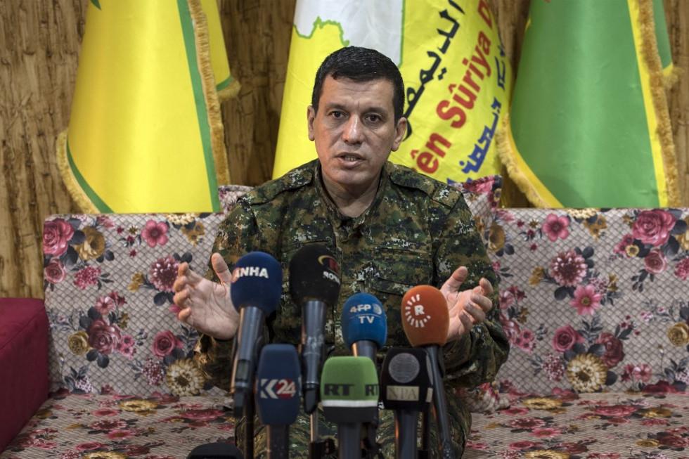 Mazlúm Kobáni, a kurd vezetésű Szíriai Demokratikus Erők (SDF) fegyveres koalíciójának parancsnoka