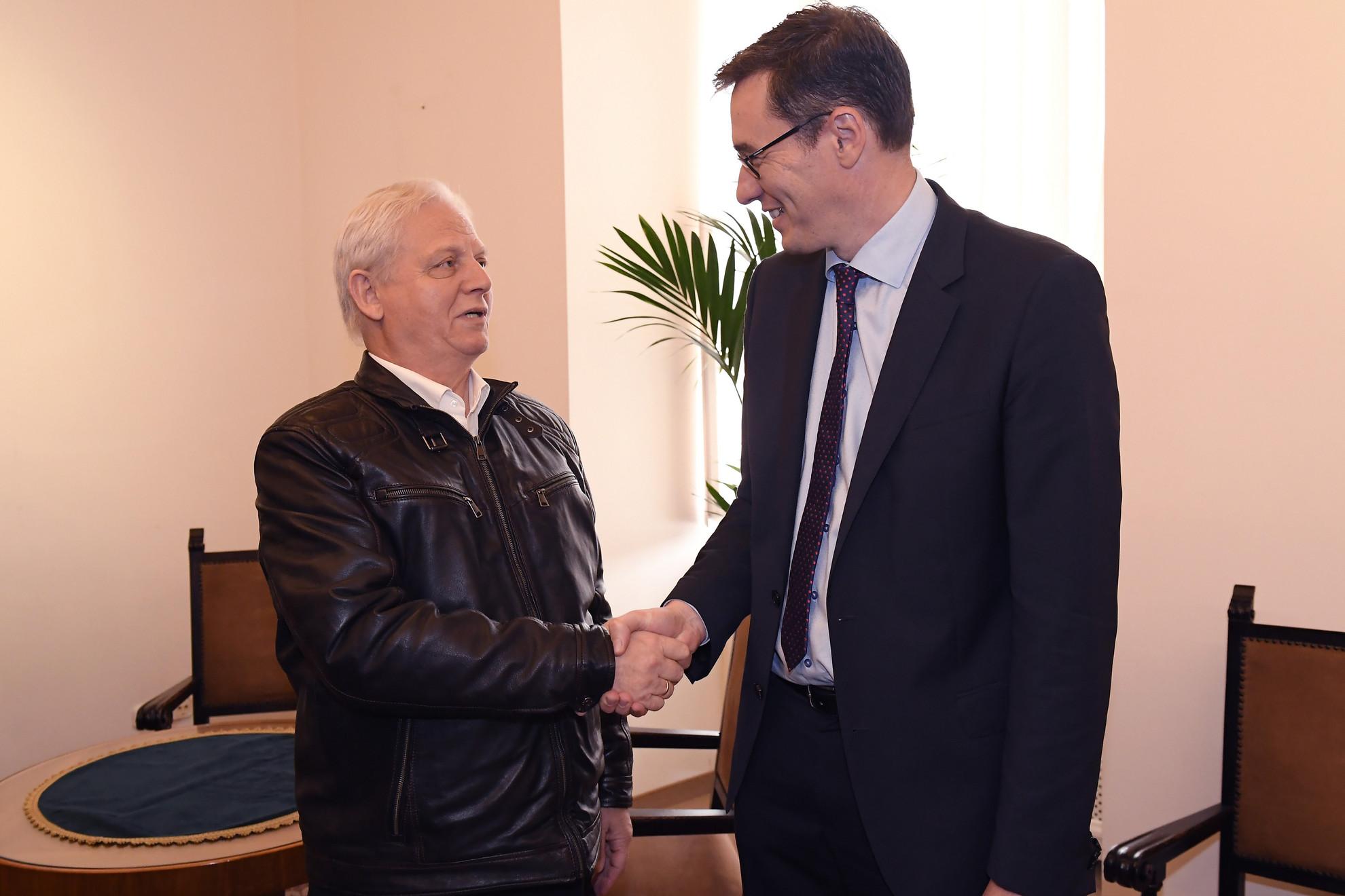 Karácsony Gergely megválasztott (j) és Tarlós István leköszönő főpolgármester a hivatal átadás-átvételén a Városházán 2019. október 17-én