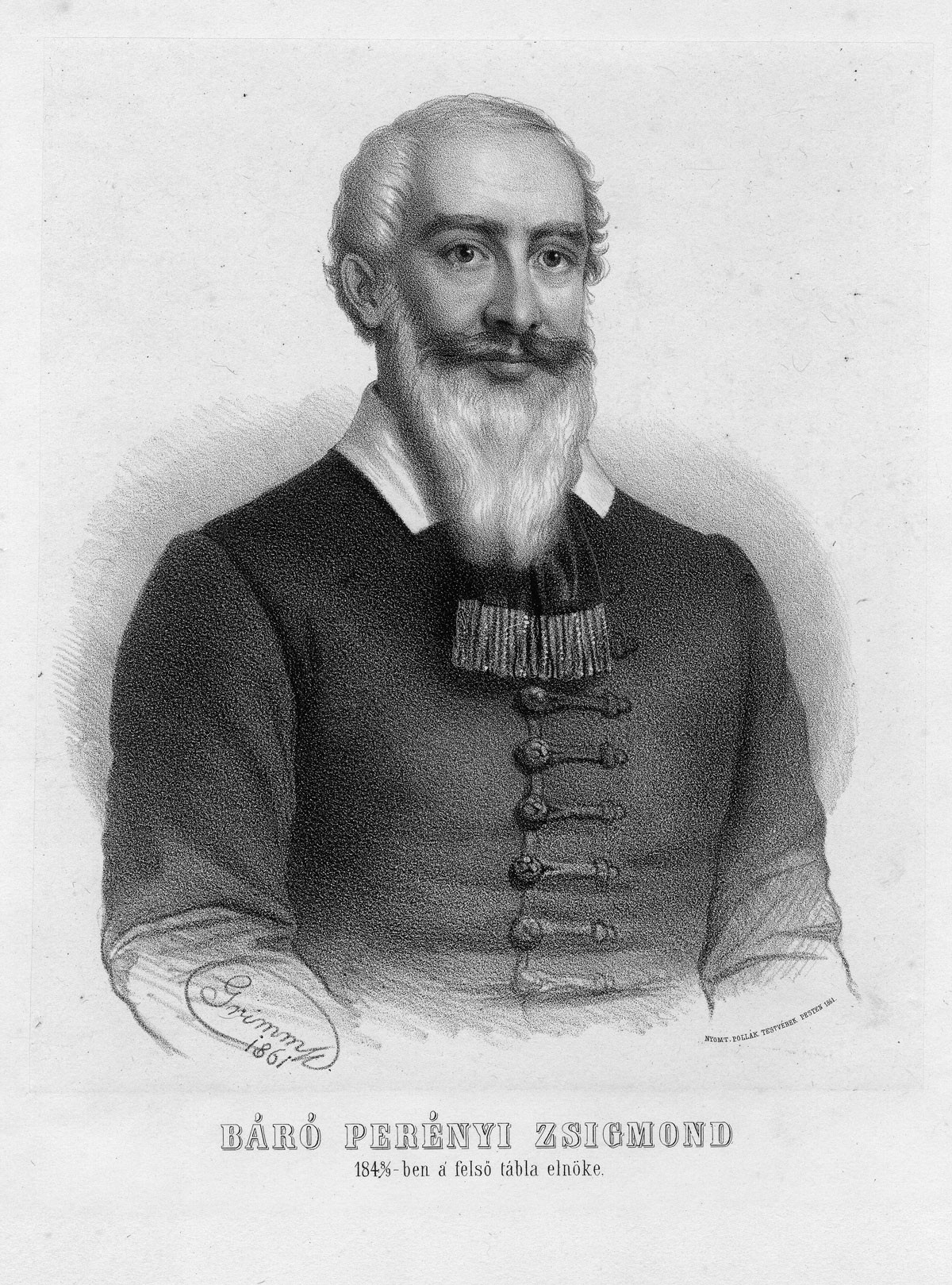 Perényi Zsigmond portréja Grimm Rezső litográfiája, 1861, ltsz.: 8640