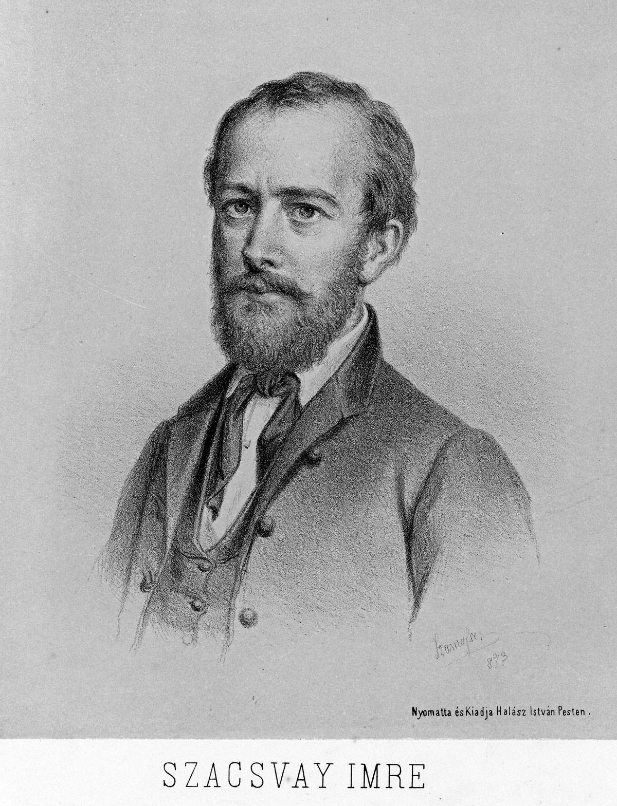 Szacsvay Imre portréja, Szamossy Elek litográfiája, 1873, ltsz.: 54.1240
