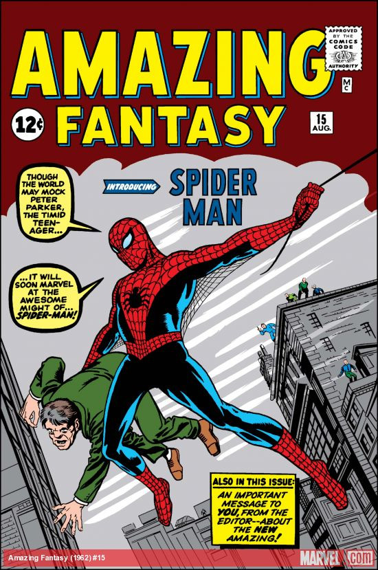 Az Amazing Fantasy 15. számának címlapja, melyben Pókember karaktere debütált