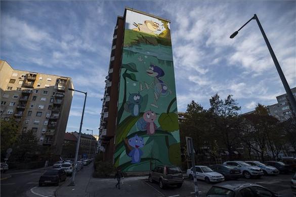 Óriási tűzfalfestményen a Vízipók-csodapók szereplői