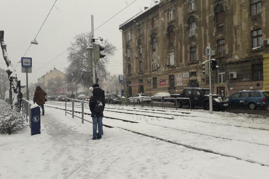 Utasok várják a villamost a behavazott megállóban Budapesten