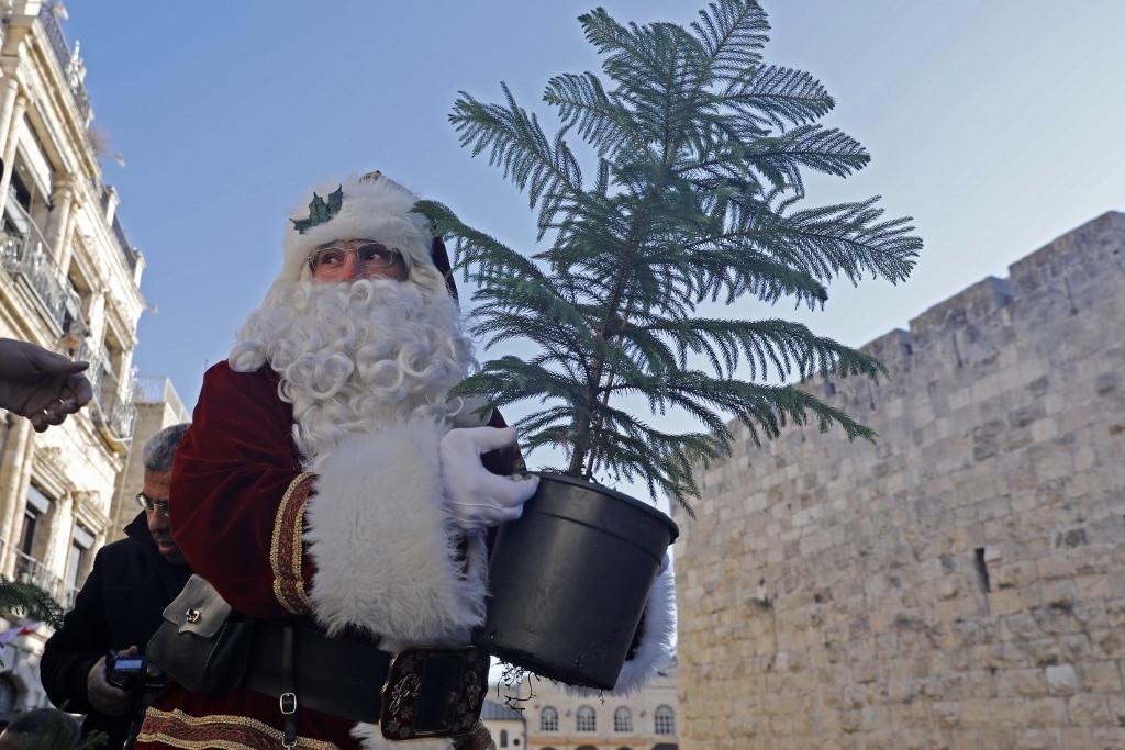Karácsonyfát is oszt az ünnepi időszakban a jeruzsálemi Mikulás