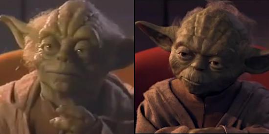 A baloldalon látható Yoda mester, még felújított változat előtti változata
