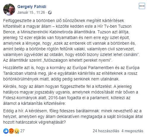 Fahidi posztja a Facebookon