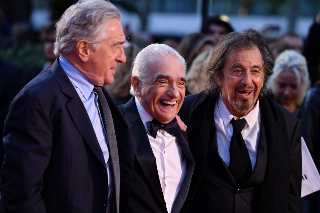 Robert DeNiróval és Martin Scorsesével Az ír nemzetközi premierjén Londonban