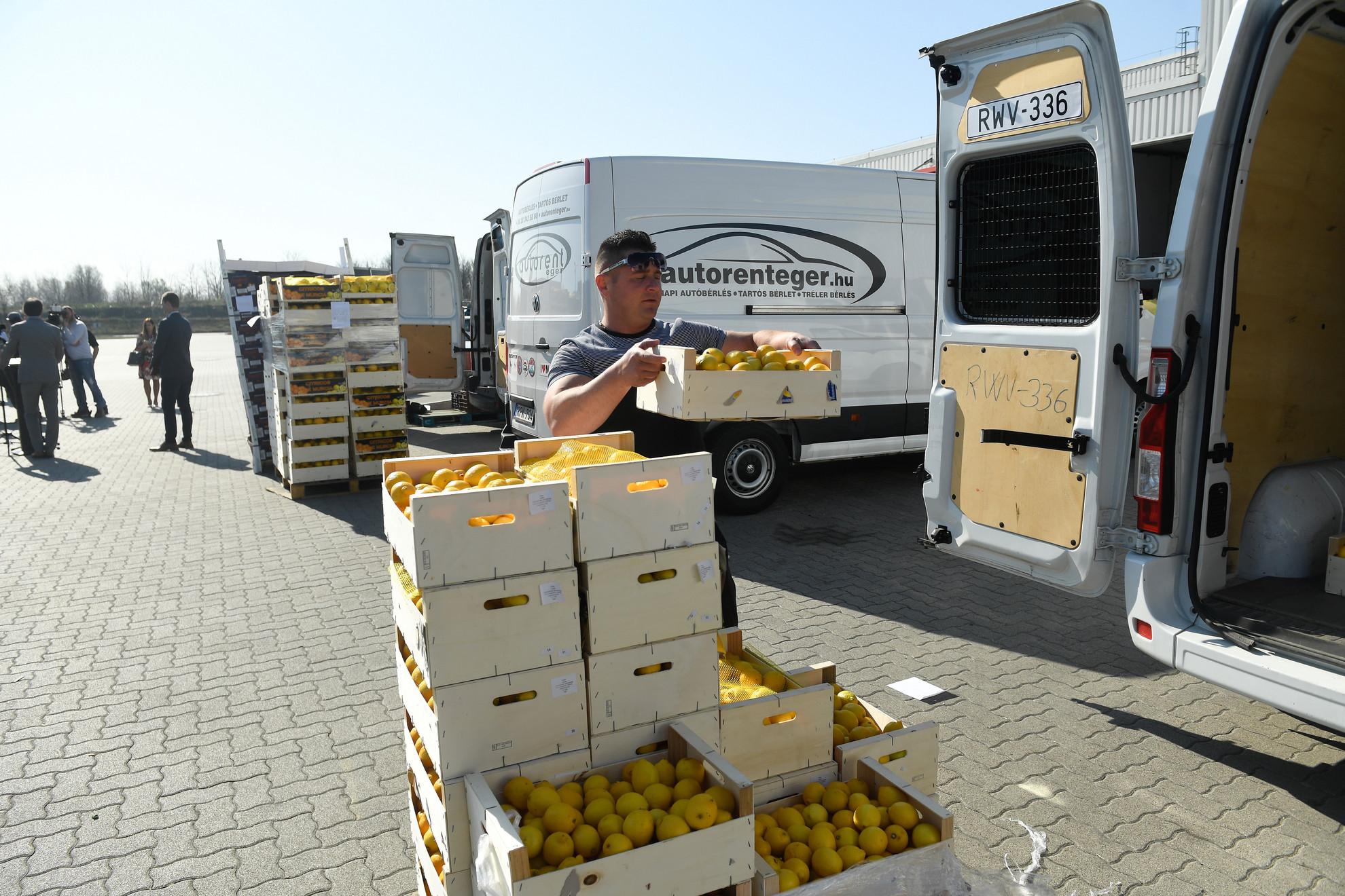Pakolják a Civil Összefogás Közhasznú Alapítvány (CÖF-CÖKA) adománygyűjtési akciójából vásárolt 63 tonna gyümölcsöt (narancsot, citromot és almát) a CBA logisztikai központjában, Alsónémediben 2020. április 9-én. A gyümölcsöket vidéki állami kezelésű idősek otthonaiban élőknek juttatják el
