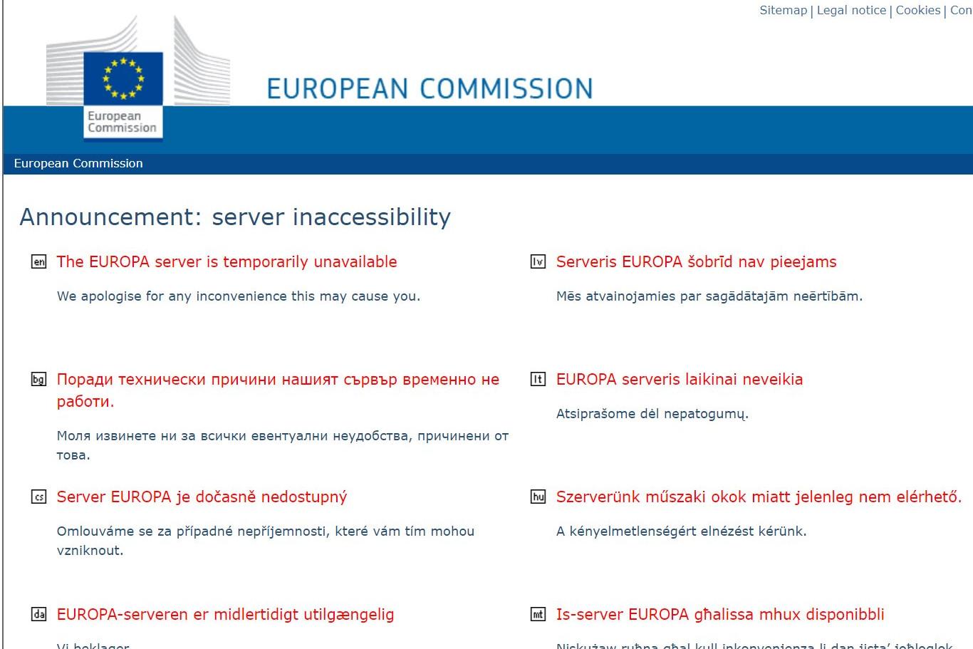 Az Európai Bizottság honlapja a leállás alatt