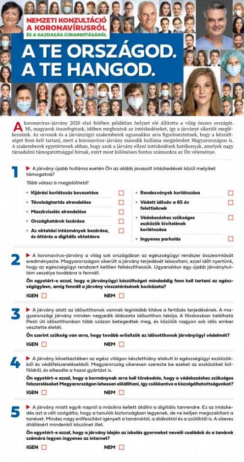 A konzultációs kérdőív első oldala