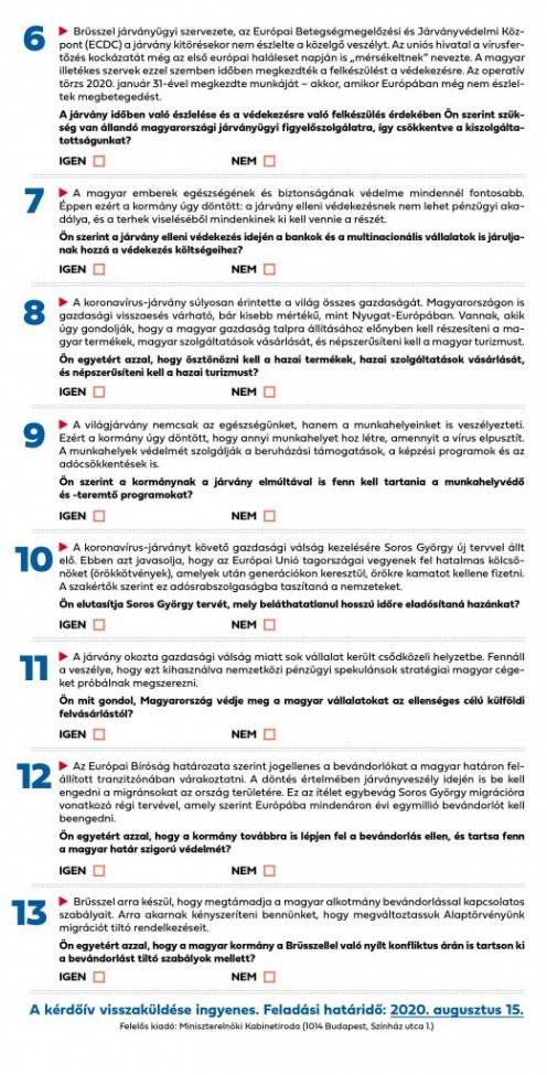 A konzultációs kérdőív második oldala