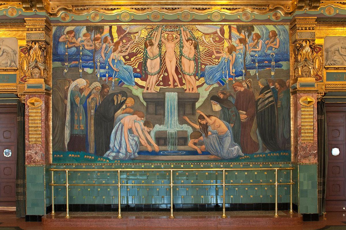 Egyik legismertebb és legszebb freskója, A művészet forrása a budapesti Zeneakadémián látható
