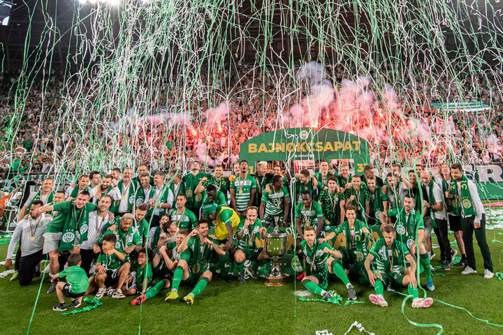 Látványos tűzijáték a bajnok Ferencváros tiszteletére