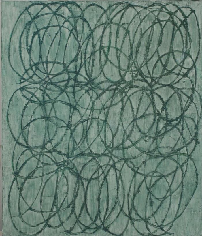 Lakner László: Cím nélkül, 1996, kreisen, olaj, vászon, 200×169 cm