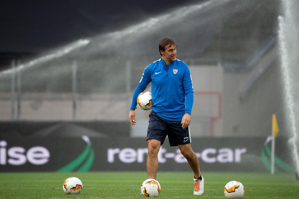 Julen Lopetegui, a Sevilla vezetőedzője csapata utolsó edzését tartja az Európa-liga döntője előtt