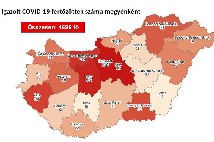 Negyvenhárommal emelkedett a fertőzöttek száma Magyarországon