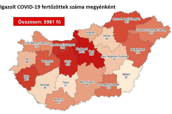 Kétszázkilencvenkettővel nőtt a fertőzöttek száma Magyarországon