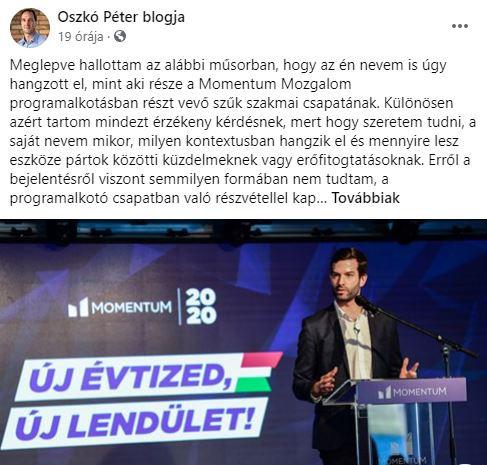 Oszkó Péter elhatárolódott a Momentum Mozgalomtól