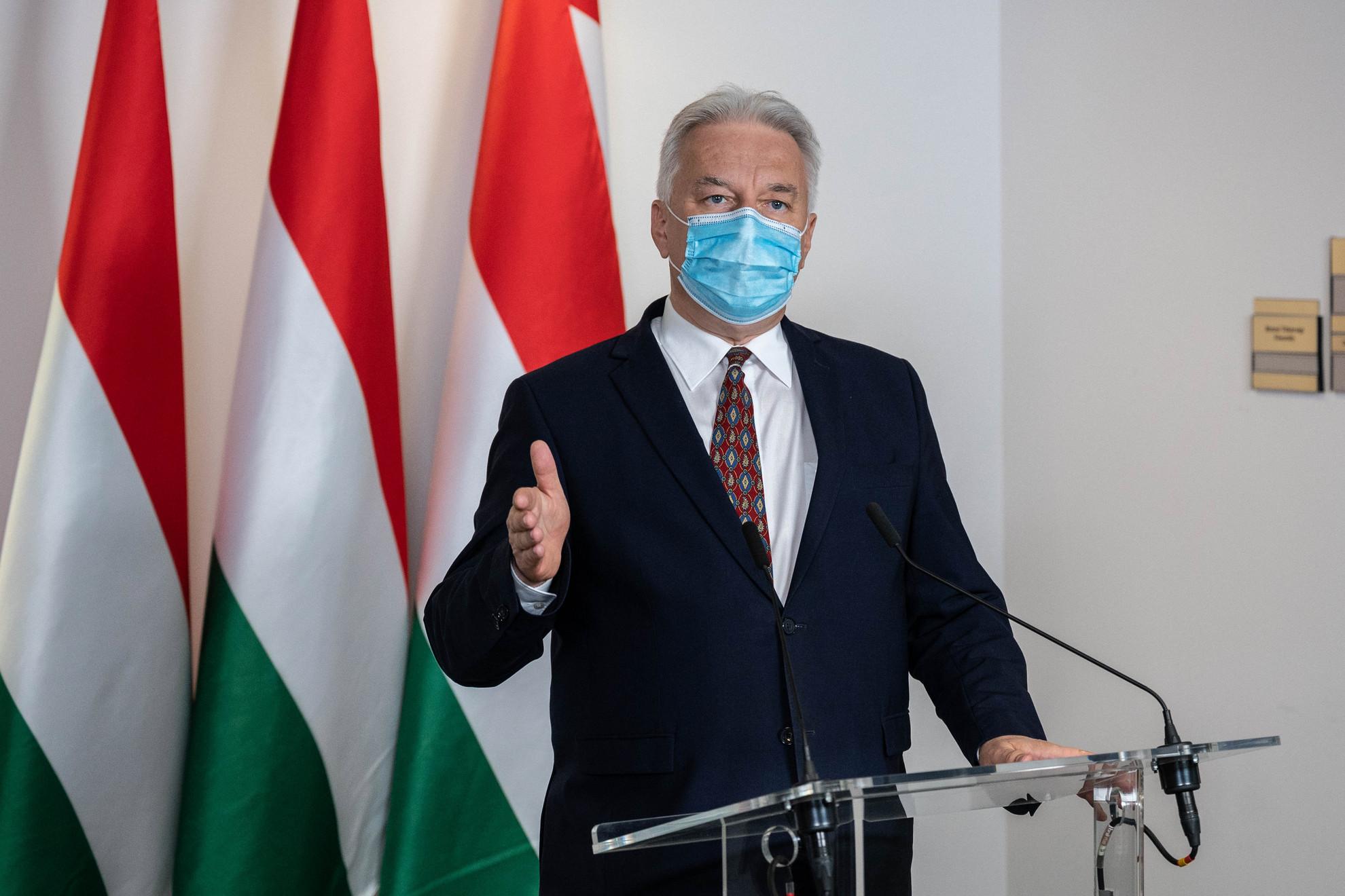Semjén Zsolt nemzetpolitikáért felelős miniszterelnök-helyettes Budapesten, a Magyar Diaszpóra Tanács ülése után tartott online sajtótájékoztatón 2020. november 26-án