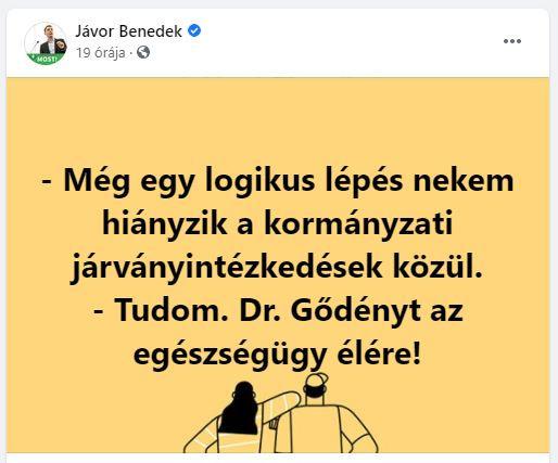 Egy vírustagadó álorvost népszerűsít viccelődve Jávor Benedek a világjárvány kellős közepén