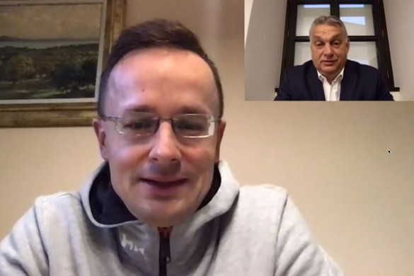 Orbán Viktor videóchaten beszélgetett a karanténban lévő Szijjártó Péterrel