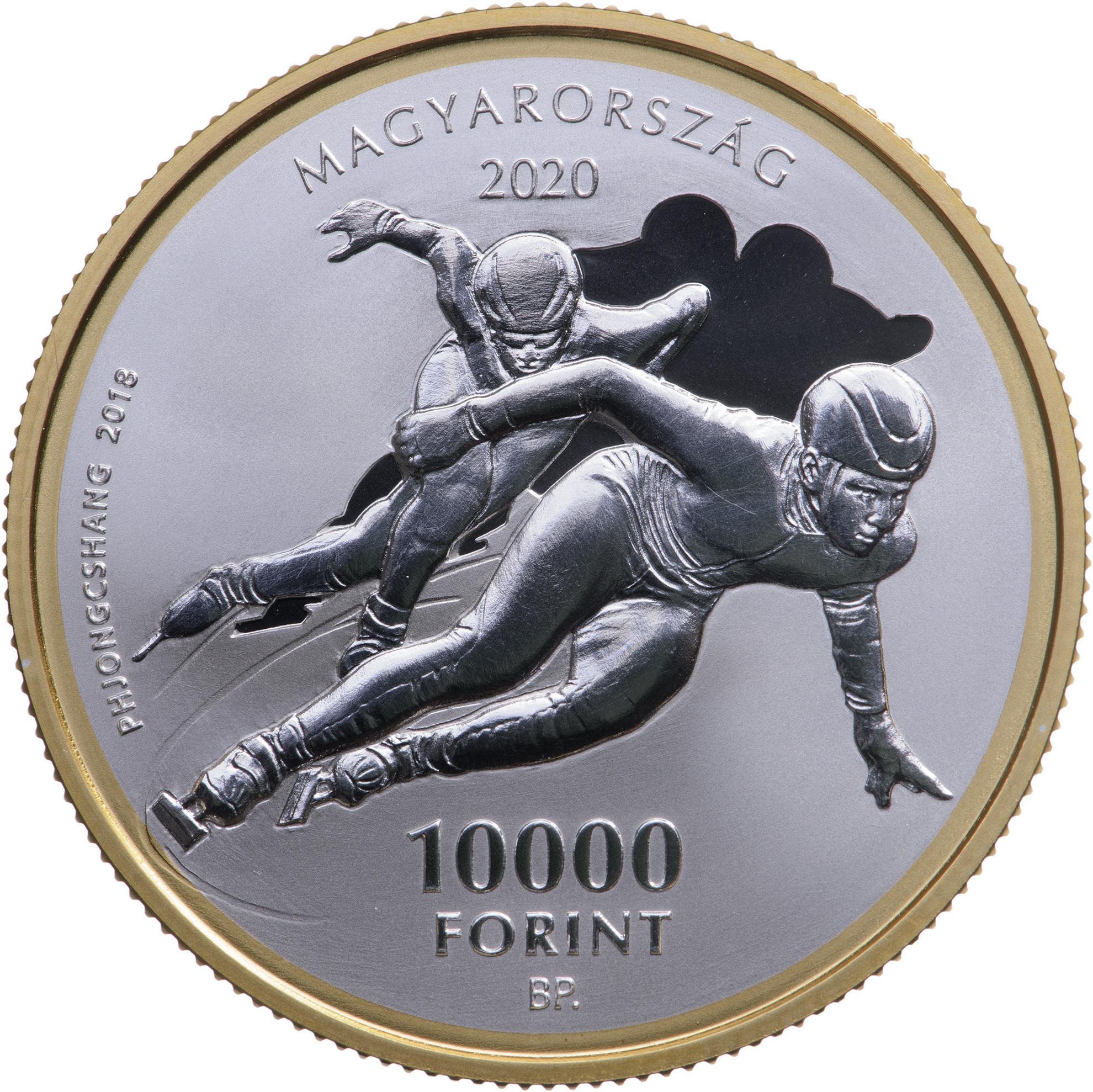 A Magyar Olimpiai Bizottság emlékérmék előlapja hazánk első téli olimpiai aranyérmének megszerzésére utal,