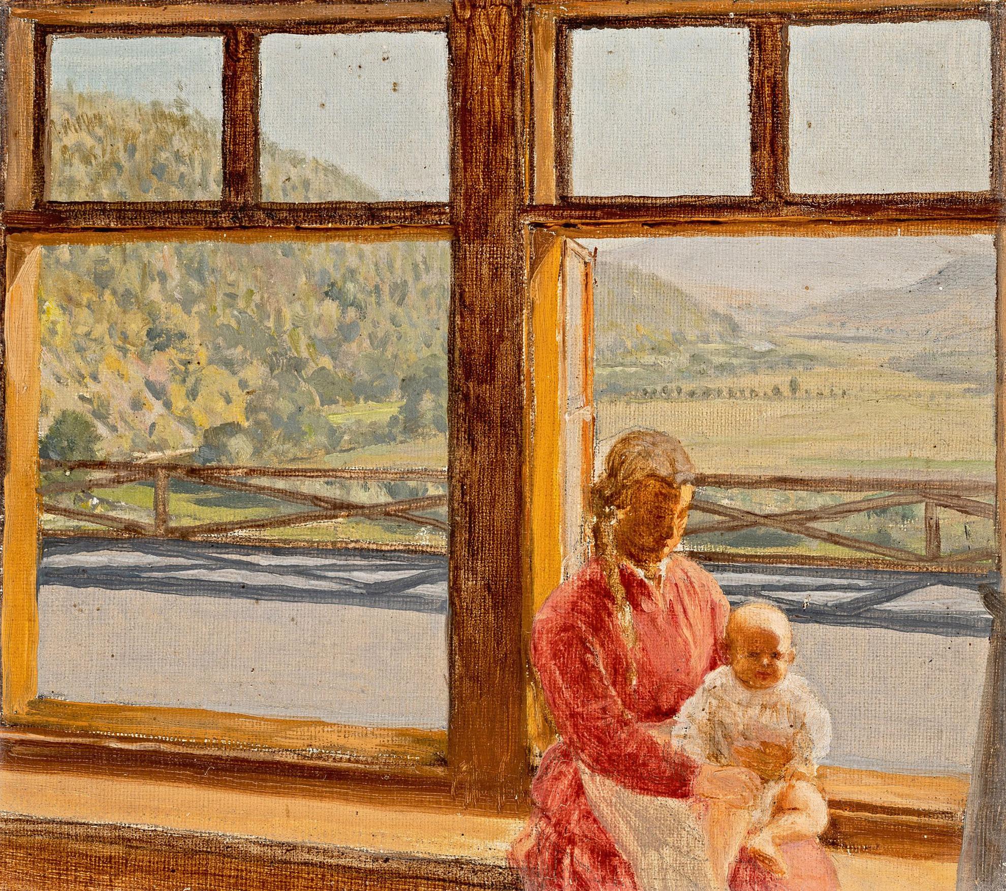 A festő házvezetőnője és leánya, háttérben a korompai táj
