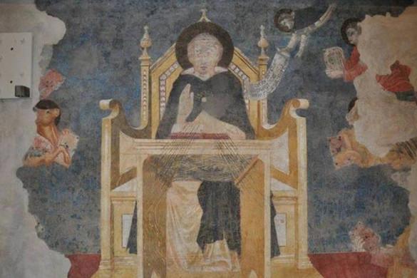 Aquinói Szent Tamást ábrázoló freskó Firenzében
