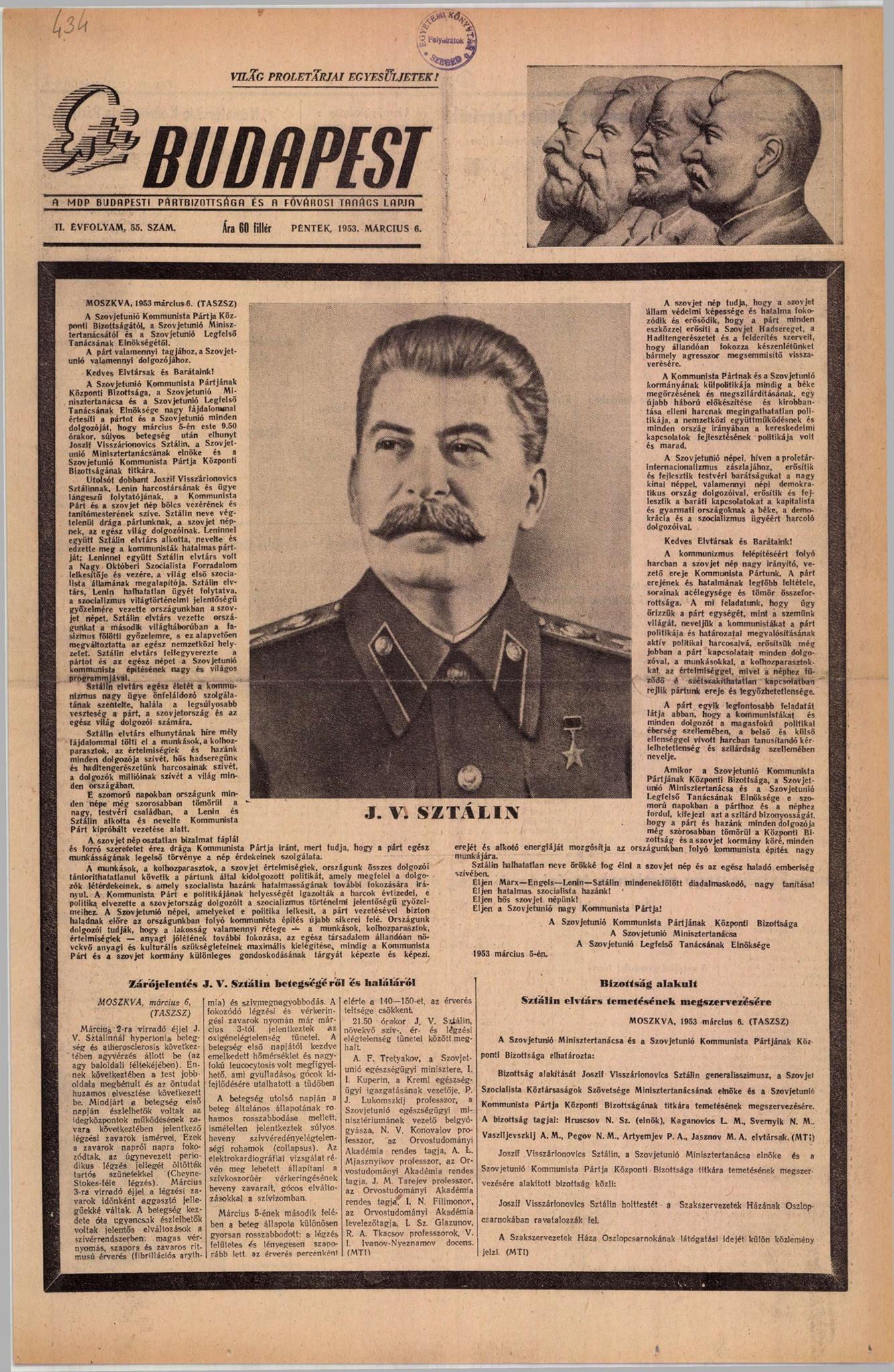 Az Esti Budapest 1953. március 6-i számának borítója