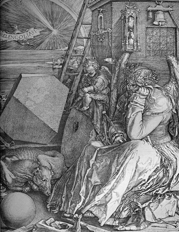 A Melankólia (1514) egyes értelmezések szerint Dürer művészi önarcképe