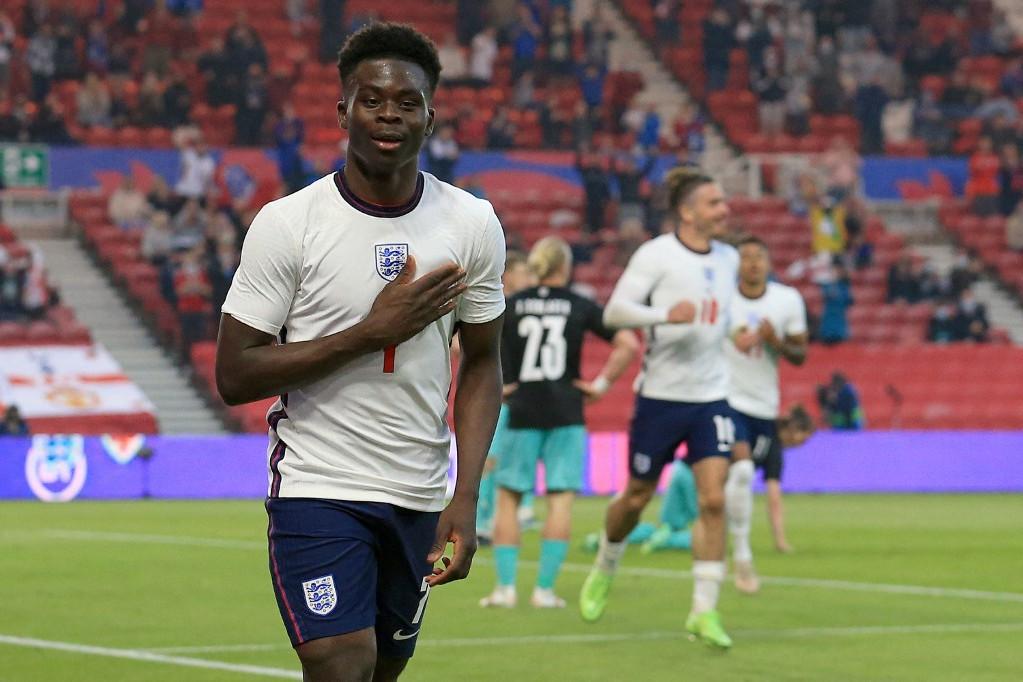Bukayo Saka első gólját Ausztria ellen szerezte az angol válogatottban