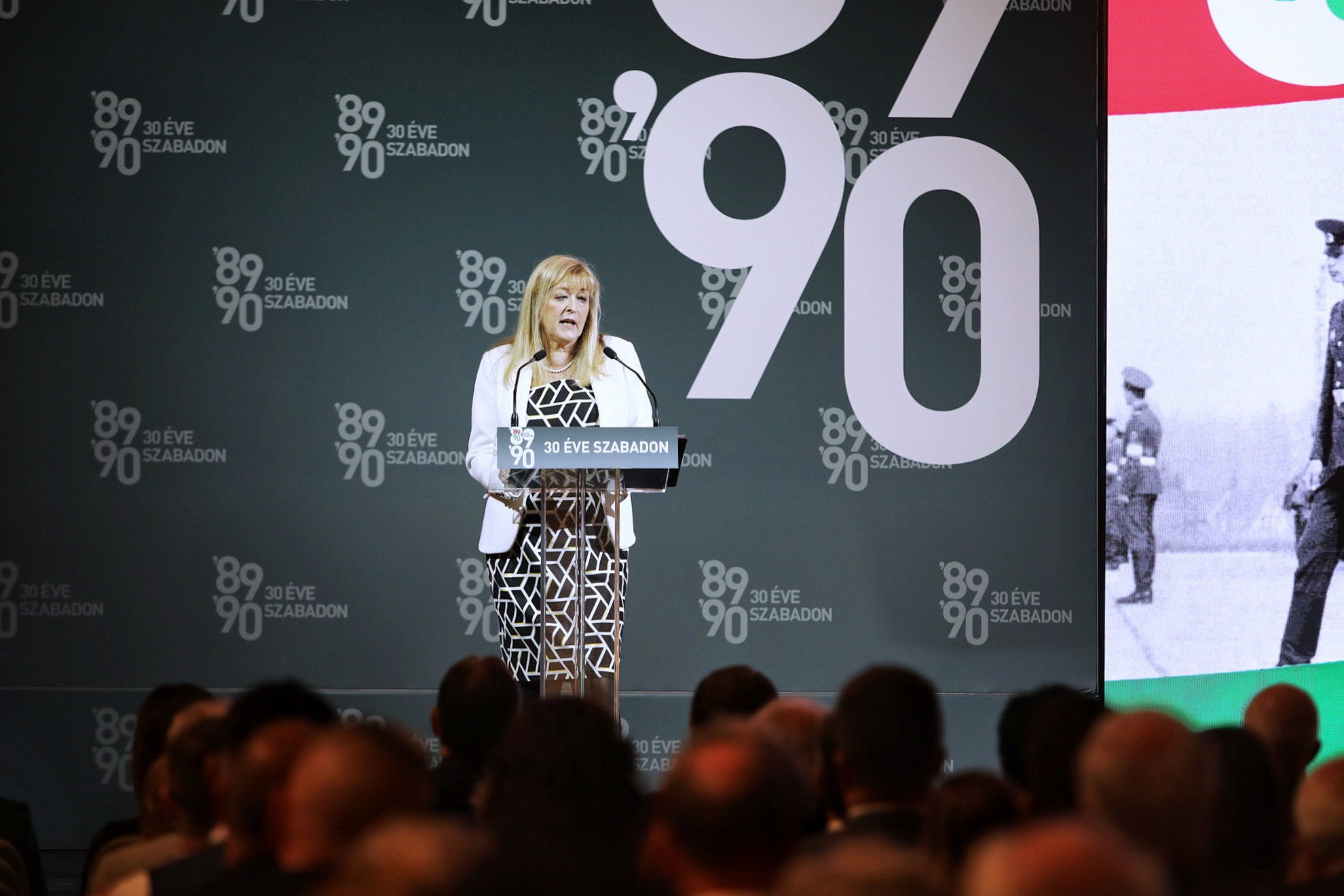 Schmidt Mária, a 30 éve szabadon emlékév kormánybiztosaként mondott beszédet
