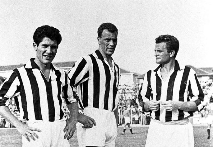 A Mágikus Trió: Sivori, John Charles és Boniperti (balról jobbra)