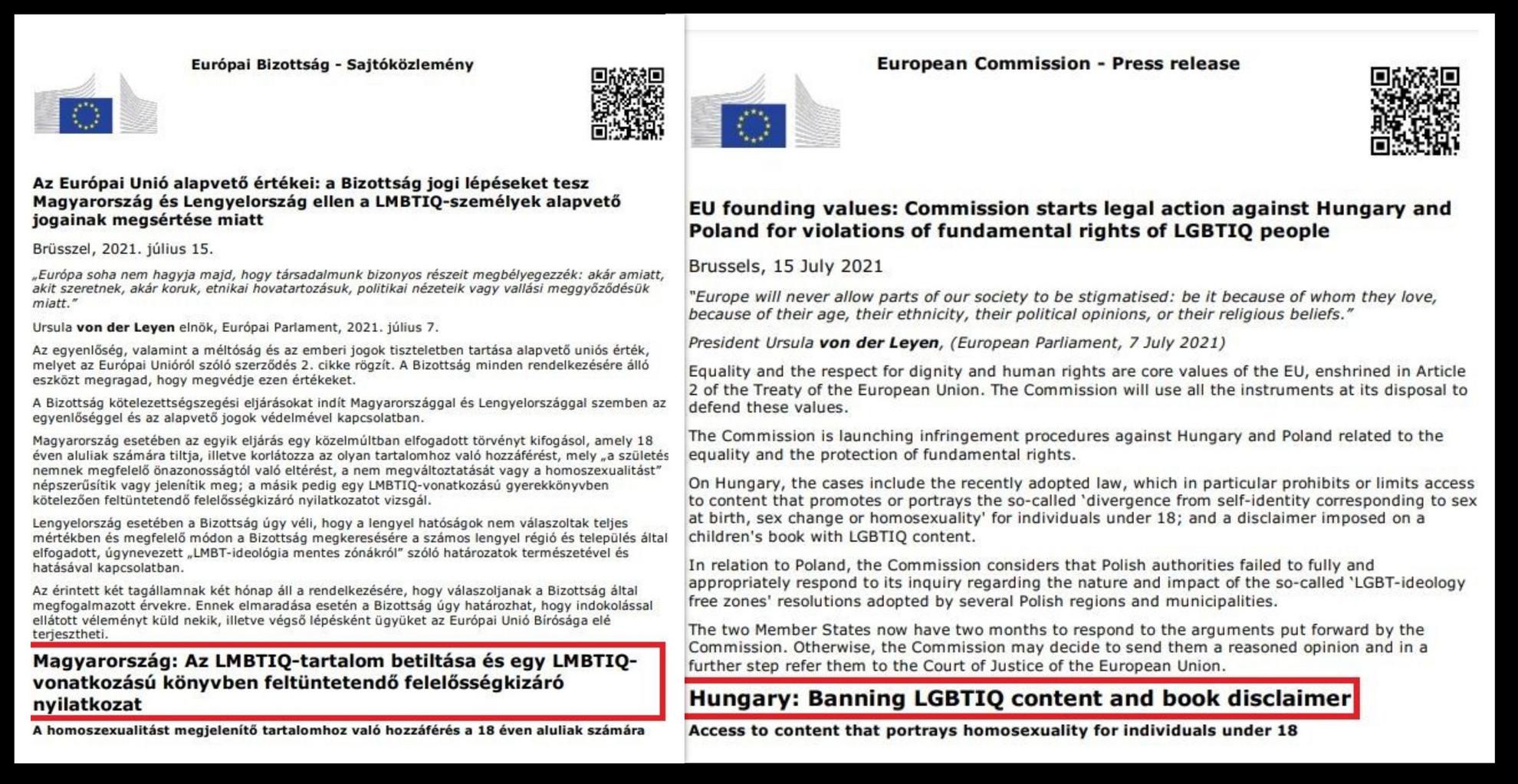 Itt a dokumentum: Brüsszel az LMBTQ-propaganda miatt indított kötelezettségszegési eljárást Magyarország ellen