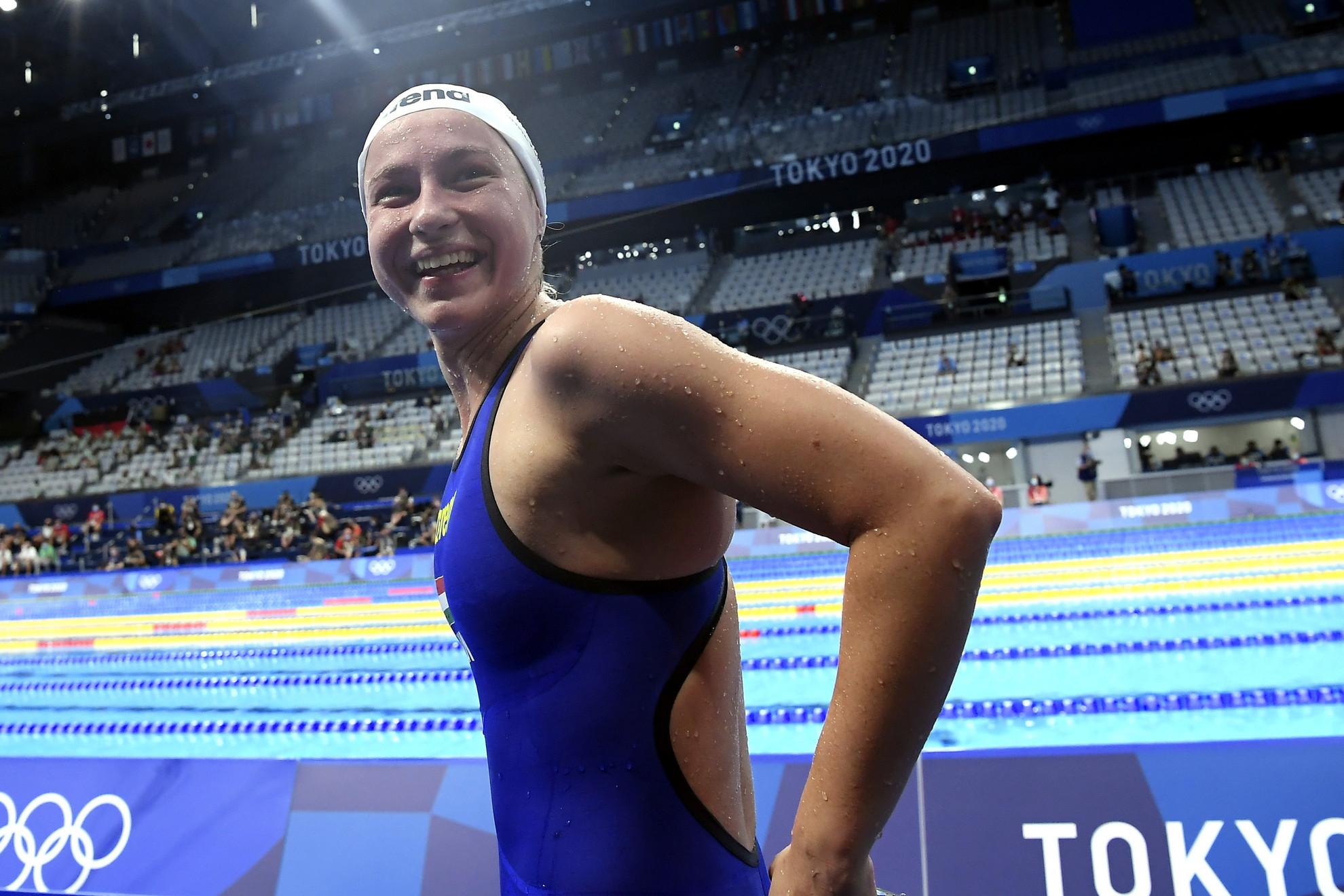Mihályvári-Farkas Viktória a női 1500 méteres gyorsúszás előfutama után a világméretű koronavírus-járvány miatt 2021-re halasztott 2020-as tokiói nyári olimpián a Tokiói Vizes Központban 2021. július 26-án