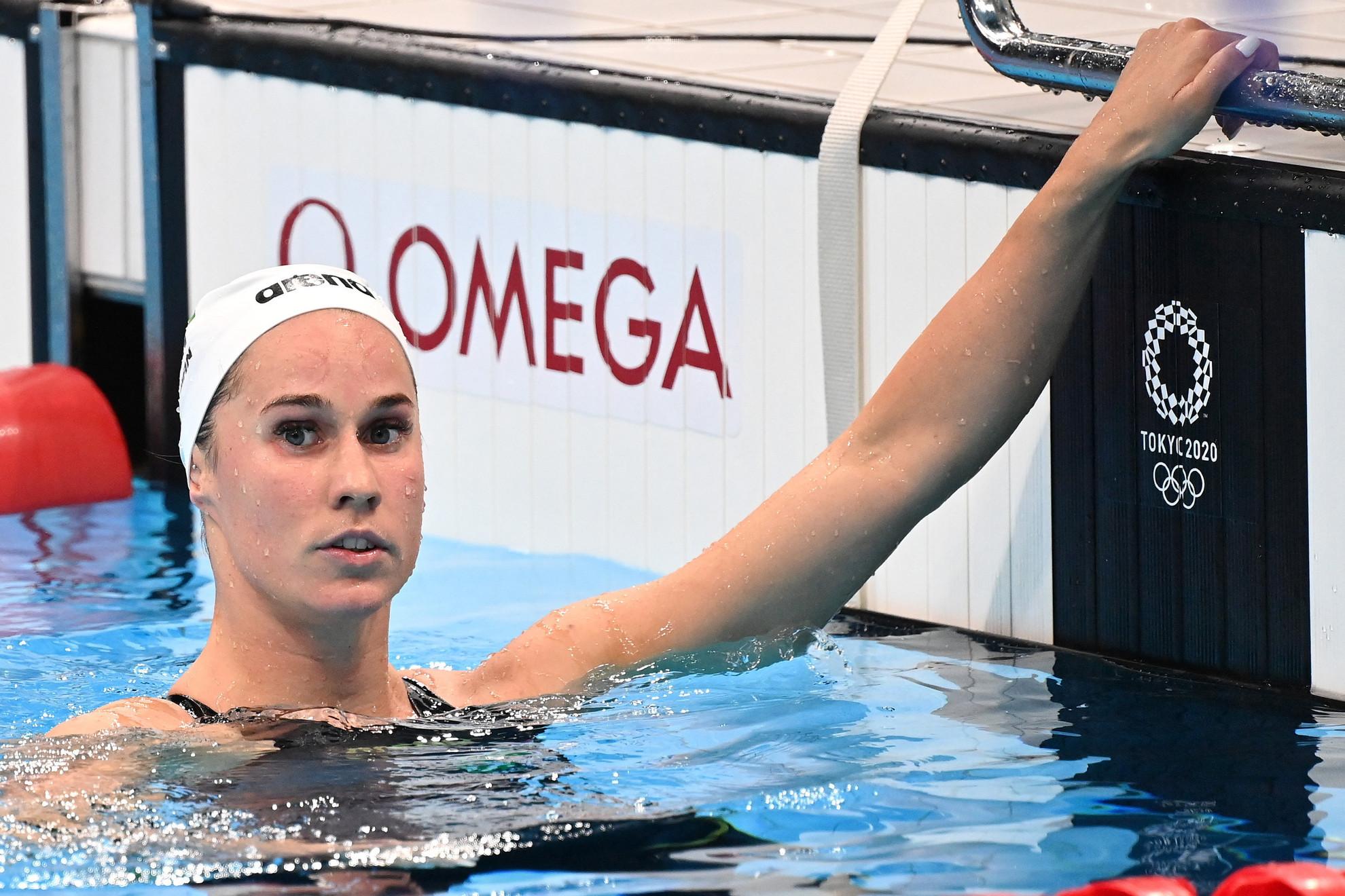 Burián Katalin a női 200 méteres hátúszás előfutamában a világméretű koronavírus-járvány miatt 2021-re halasztott 2020-as tokiói nyári olimpián a Tokiói Vizes Központban 2021. július 29-én
